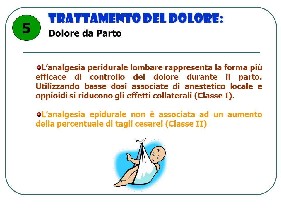Trattamento del dolore: Lanalgesia peridurale lombare rappresenta la forma più efficace di controllo del dolore durante il parto. Utilizzando basse do