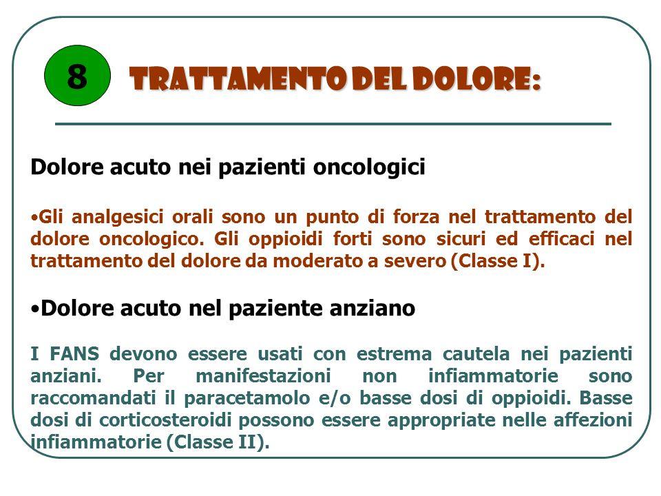 Trattamento del dolore: Dolore acuto nei pazienti oncologici Gli analgesici orali sono un punto di forza nel trattamento del dolore oncologico. Gli op
