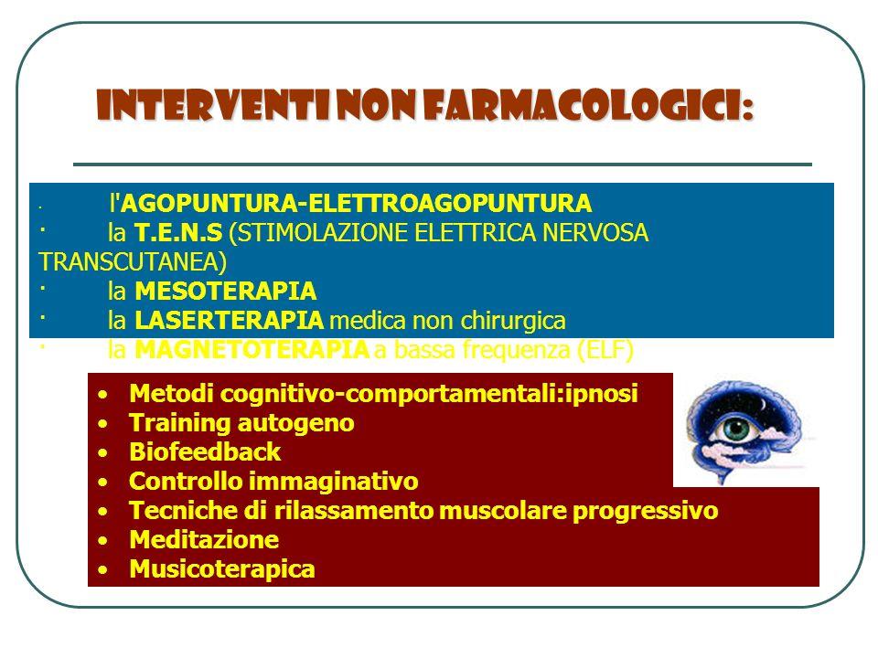 Interventi Non Farmacologici: · l'AGOPUNTURA-ELETTROAGOPUNTURA · la T.E.N.S (STIMOLAZIONE ELETTRICA NERVOSA TRANSCUTANEA) · la MESOTERAPIA · la LASERT