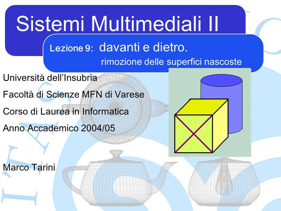 Sistemi Multimediali II Marco Tarini Università dellInsubria Facoltà di Scienze MFN di Varese Corso di Laurea in Informatica Anno Accademico 2004/05 Lezione 9: davanti e dietro.