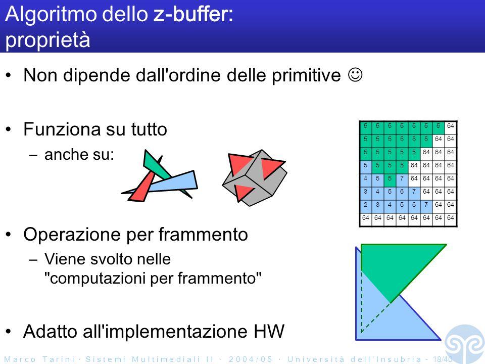 M a r c o T a r i n i S i s t e m i M u l t i m e d i a l i I I 2 0 0 4 / 0 5 U n i v e r s i t à d e l l I n s u b r i a - 18/40 Algoritmo dello z-buffer: proprietà Non dipende dall ordine delle primitive Funziona su tutto –anche su: Operazione per frammento –Viene svolto nelle computazioni per frammento Adatto all implementazione HW 555555564 555555 55555 5555 4557 34567 234567