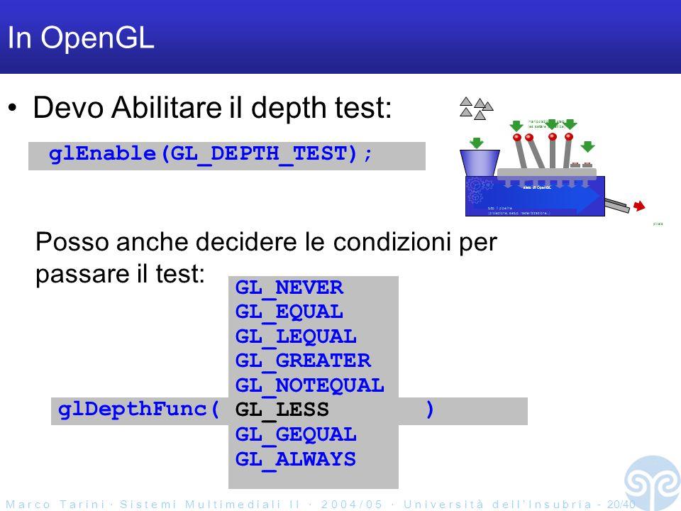 M a r c o T a r i n i S i s t e m i M u l t i m e d i a l i I I 2 0 0 4 / 0 5 U n i v e r s i t à d e l l I n s u b r i a - 20/40 In OpenGL Devo Abilitare il depth test: glEnable(GL_DEPTH_TEST); primitive qui pixels tutto il pipeline (proiezione, setup, rasterizzazione...) stato di OpenGL manipolazioni di stato (es.