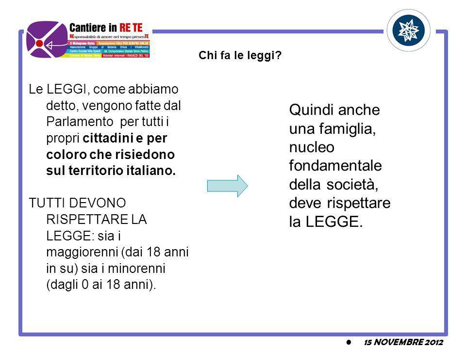 Le LEGGI, come abbiamo detto, vengono fatte dal Parlamento per tutti i propri cittadini e per coloro che risiedono sul territorio italiano.