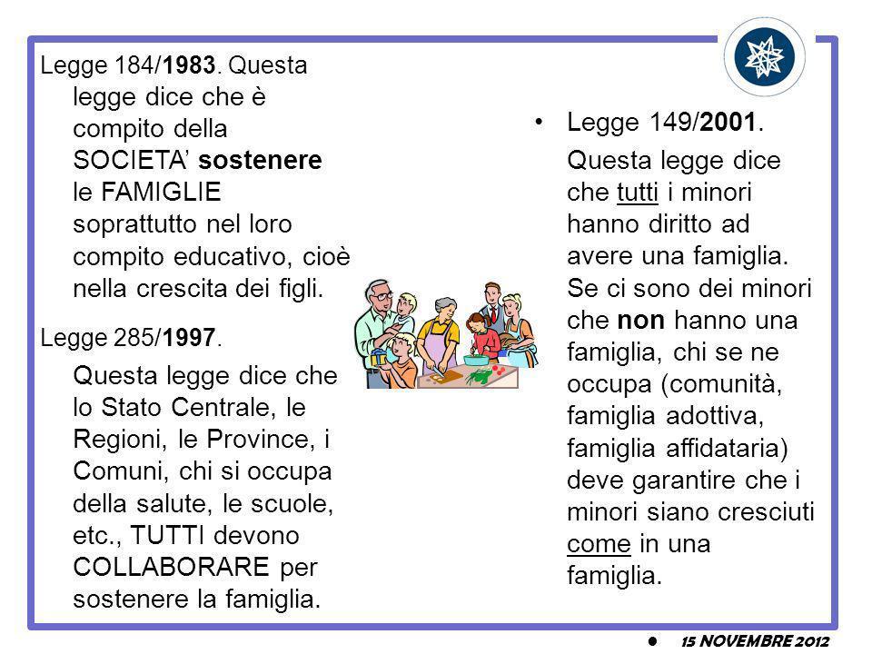 15 NOVEMBRE 2012 Legge 184/1983. Questa legge dice che è compito della SOCIETA sostenere le FAMIGLIE soprattutto nel loro compito educativo, cioè nell