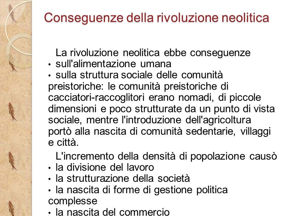 La rivoluzione neolitica ebbe conseguenze sull'alimentazione umana sulla struttura sociale delle comunità preistoriche: le comunità preistoriche di ca