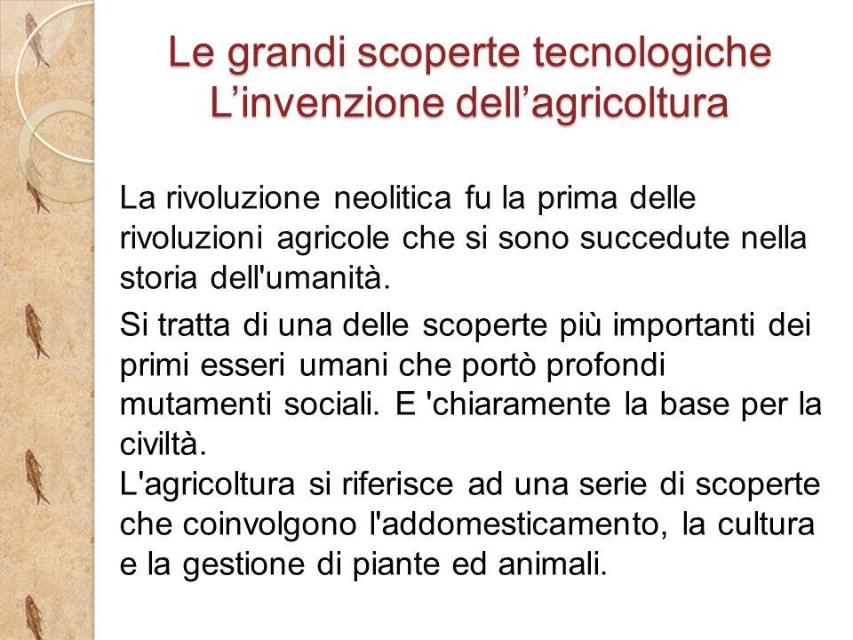 La rivoluzione neolitica fu la prima delle rivoluzioni agricole che si sono succedute nella storia dell umanità.