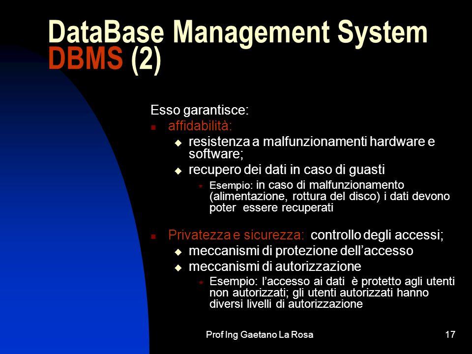 Prof Ing Gaetano La Rosa17 DataBase Management System DBMS (2) Esso garantisce: affidabilità: resistenza a malfunzionamenti hardware e software; recup