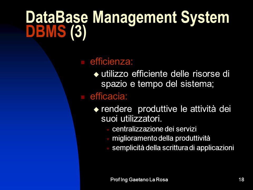 Prof Ing Gaetano La Rosa18 DataBase Management System DBMS (3) efficienza: utilizzo efficiente delle risorse di spazio e tempo del sistema; efficacia: