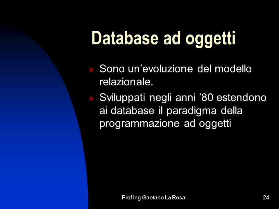 Prof Ing Gaetano La Rosa25 Database relazionali Non solo sono i più utilizzati, ma sono anche i più semplici perché si appoggiano ad un modo di rappresentate i dati a noi familiare: le tabelle Oggi i principali database in circolazione sono di tipo relazionale, e questo perché praticamente tutti gli insiemi di dati che corrispondono a entità complesse organizzate come imprese, scuole, associazioni,… implicano collegamenti tra i vari dati: ai fornitori sono collegate le merci, agli alunni i corsi, ai corsi i professori, e così via.