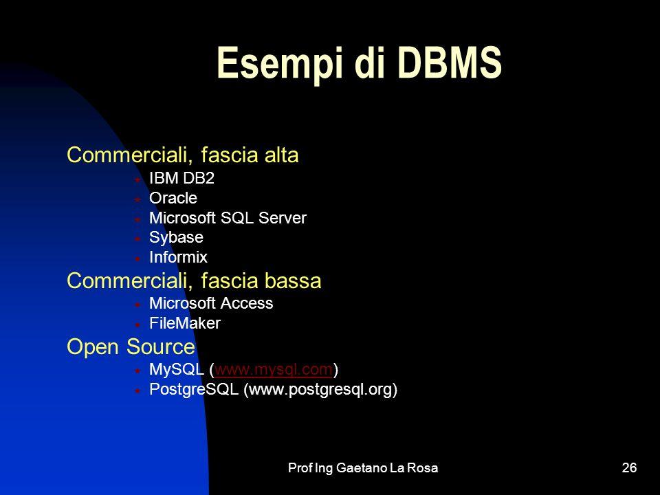 Prof Ing Gaetano La Rosa26 Esempi di DBMS Commerciali, fascia alta IBM DB2 Oracle Microsoft SQL Server Sybase Informix Commerciali, fascia bassa Micro
