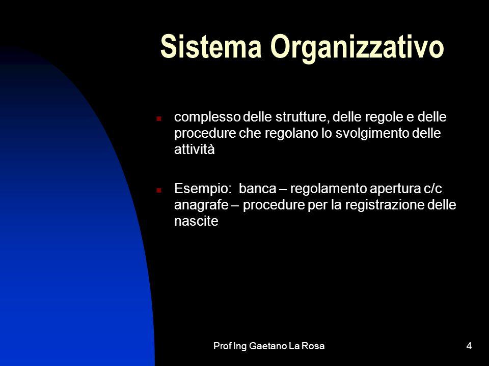 Prof Ing Gaetano La Rosa4 Sistema Organizzativo complesso delle strutture, delle regole e delle procedure che regolano lo svolgimento delle attività E