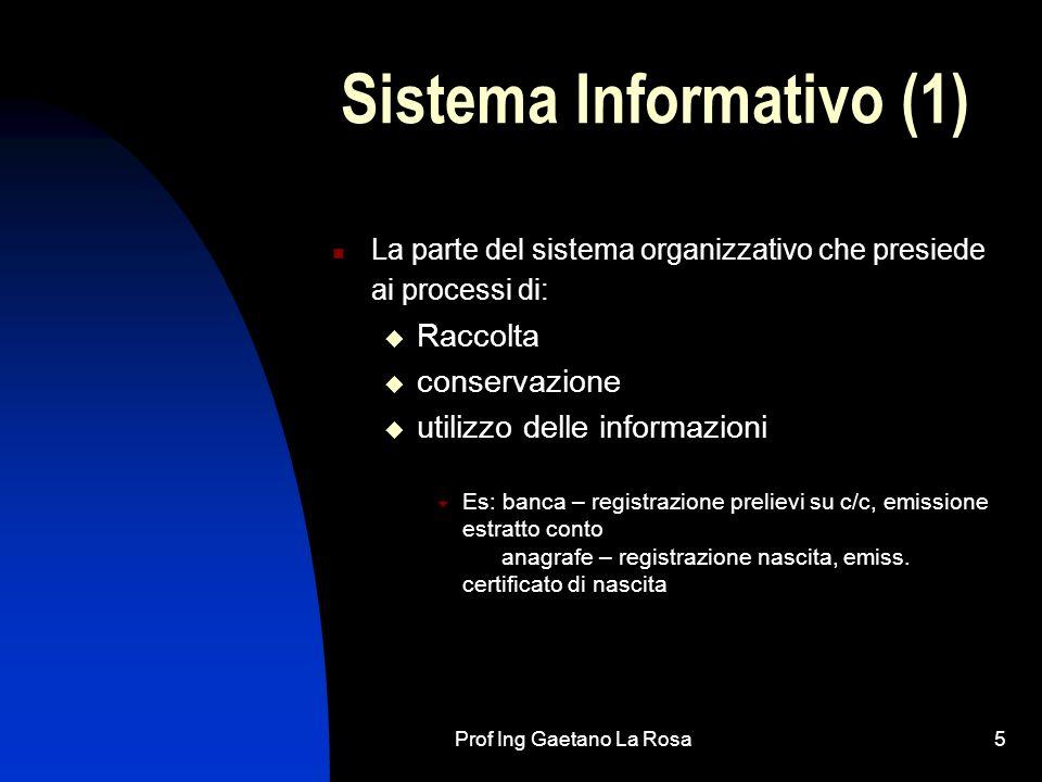 Prof Ing Gaetano La Rosa5 Sistema Informativo (1) La parte del sistema organizzativo che presiede ai processi di: Raccolta conservazione utilizzo dell