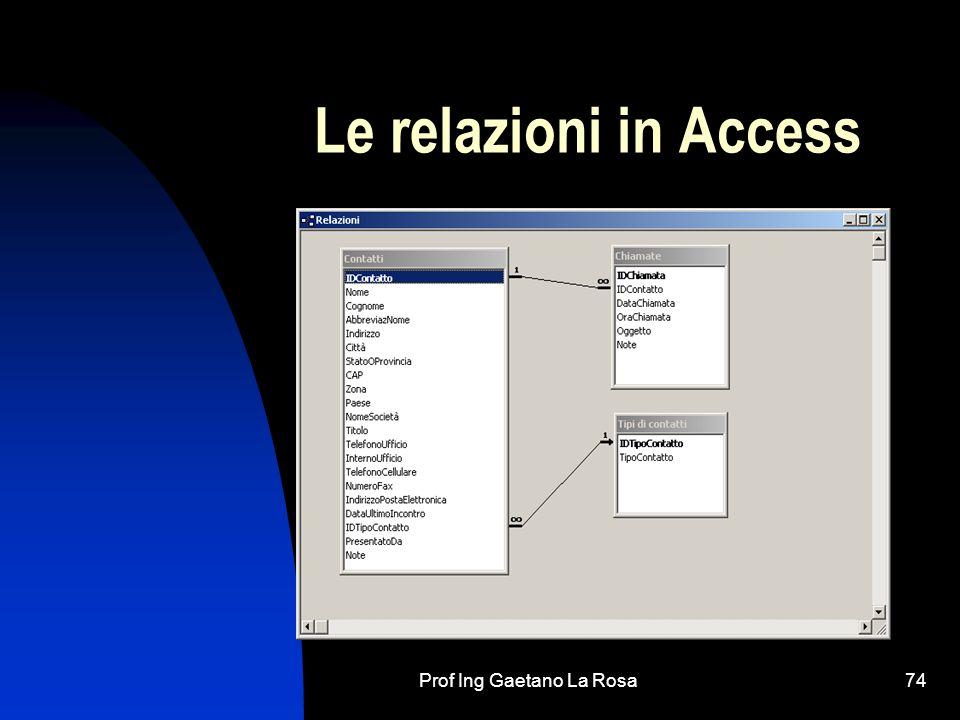 Prof Ing Gaetano La Rosa75 Le maschere In una tabella i dati possono essere inseriti: considerando la tabella come se fosse un foglio tipo Excel oppure: utilizzando le maschere (di inserimento)