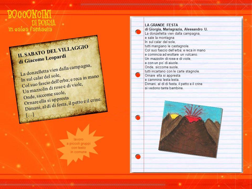 IL SABATO DEL VILLAGGIO di Giacomo Leopardi La donzelletta vien dalla campagna, In sul calar del sole, Col suo fascio dell'erba; e reca in mano Un maz