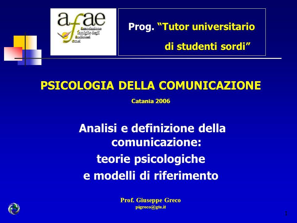 1 Prog. Tutor universitario di studenti sordi PSICOLOGIA DELLA COMUNICAZIONE Catania 2006 Analisi e definizione della comunicazione: teorie psicologic