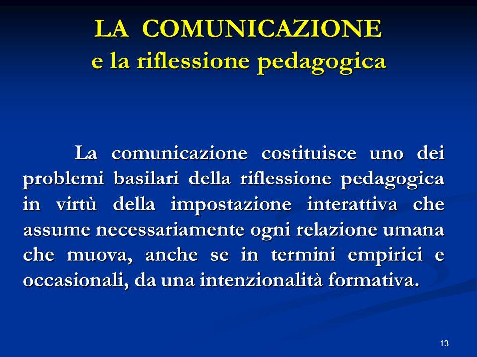 13 LA COMUNICAZIONE e la riflessione pedagogica La comunicazione costituisce uno dei problemi basilari della riflessione pedagogica in virtù della imp