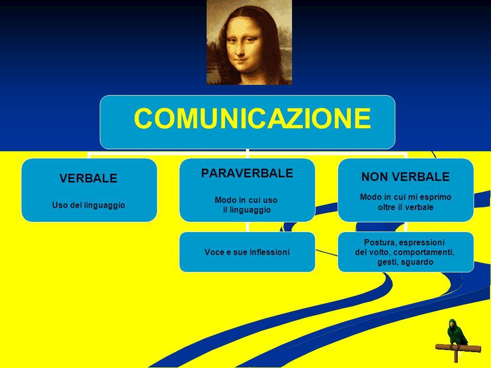 16 COMUNICAZIONE VERBALE Uso del linguaggio PARAVERBALE Modo in cui uso il linguaggio Voce e sue inflessioni NON VERBALE Modo in cui mi esprimo oltre