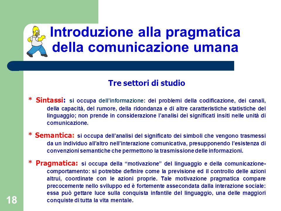18 Introduzione alla pragmatica della comunicazione umana Tre settori di studio * Sintassi: si occupa dellinformazione: dei problemi della codificazio