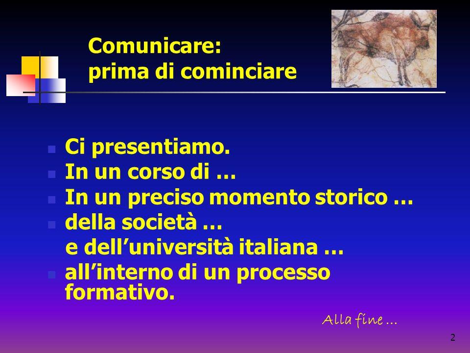 2 Ci presentiamo. In un corso di … In un preciso momento storico … della società … e delluniversità italiana … allinterno di un processo formativo. Al