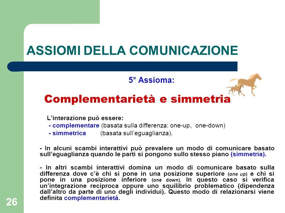 26 ASSIOMI DELLA COMUNICAZIONE 5° Assioma: Complementarietà e simmetria Linterazione può essere: - complementare (basata sulla differenza: one-up, one