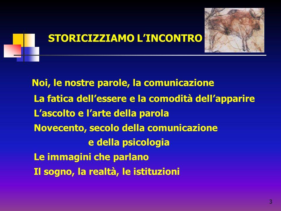 3 Noi, le nostre parole, la comunicazione La fatica dellessere e la comodità dellapparire Lascolto e larte della parola Novecento, secolo della comuni