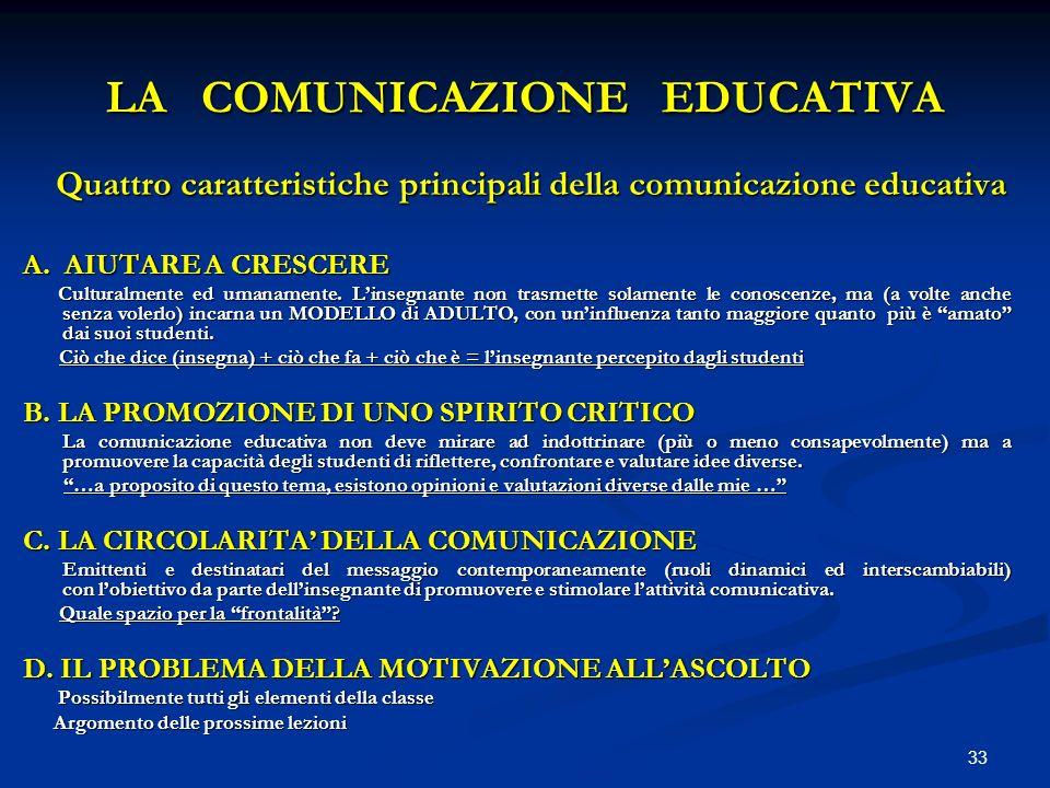 33 LA COMUNICAZIONE EDUCATIVA Quattro caratteristiche principali della comunicazione educativa Quattro caratteristiche principali della comunicazione