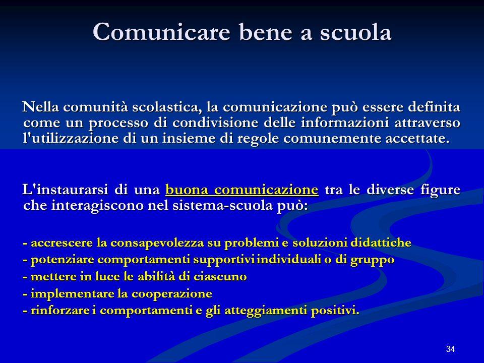 34 Comunicare bene a scuola Nella comunità scolastica, la comunicazione può essere definita come un processo di condivisione delle informazioni attrav