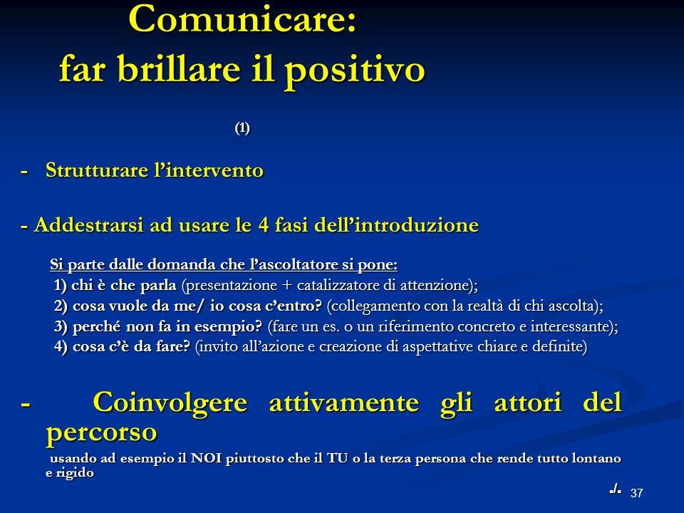 37 Comunicare: far brillare il positivo (1) - Strutturare lintervento - Addestrarsi ad usare le 4 fasi dellintroduzione Si parte dalle domanda che las