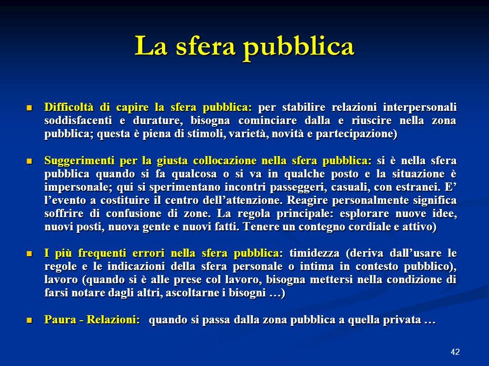 42 La sfera pubblica Difficoltà di capire la sfera pubblica: per stabilire relazioni interpersonali soddisfacenti e durature, bisogna cominciare dalla