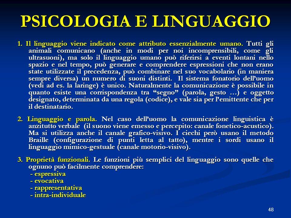 48 PSICOLOGIA E LINGUAGGIO 1. Il linguaggio viene indicato come attributo essenzialmente umano. Tutti gli animali comunicano (anche in modi per noi in