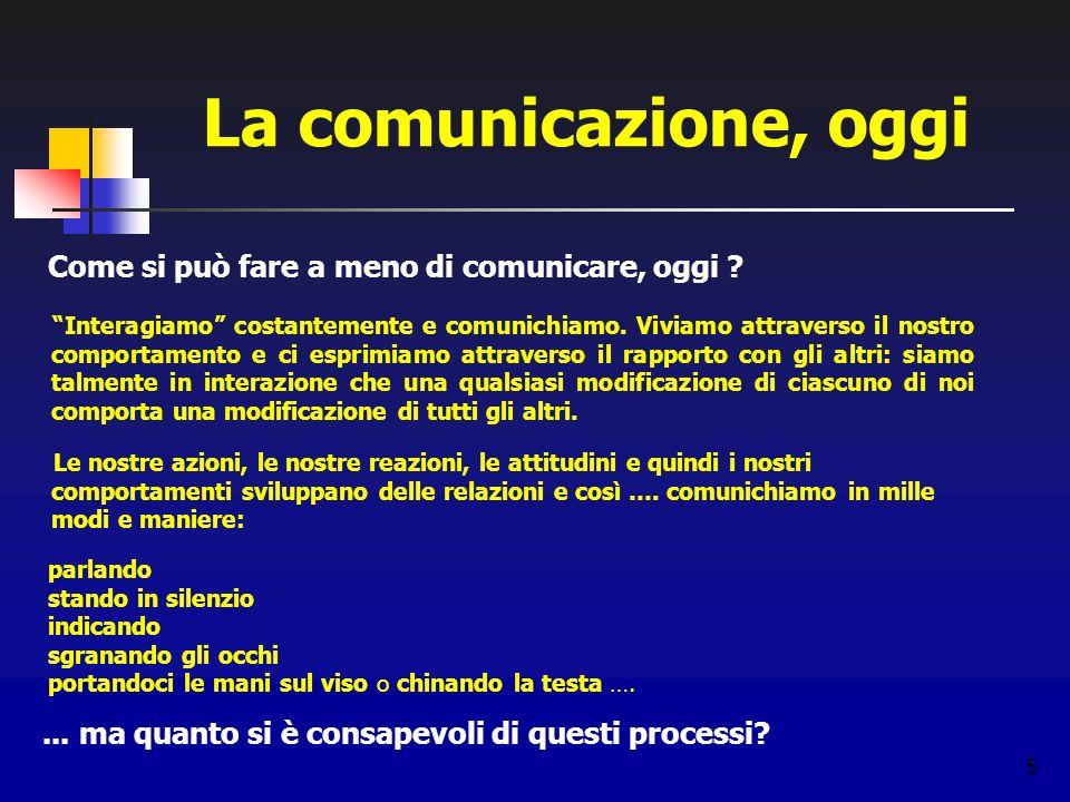 5 La comunicazione, oggi Come si può fare a meno di comunicare, oggi ? Interagiamo costantemente e comunichiamo. Viviamo attraverso il nostro comporta