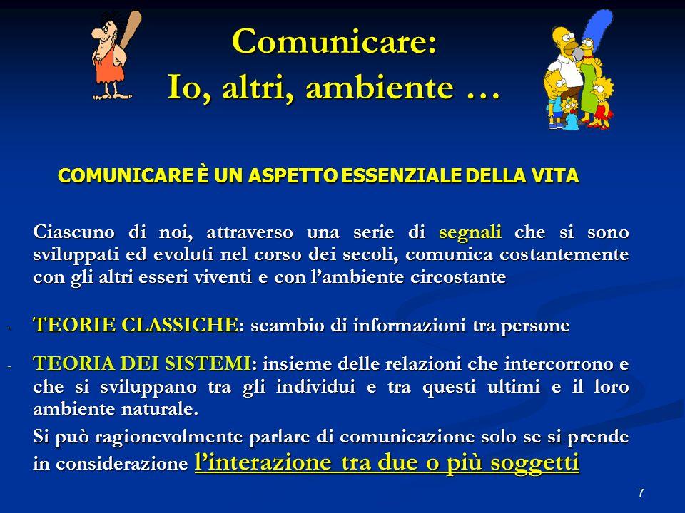 7 Comunicare: Io, altri, ambiente … COMUNICARE È UN ASPETTO ESSENZIALE DELLA VITA Ciascuno di noi, attraverso una serie di segnali che si sono svilupp