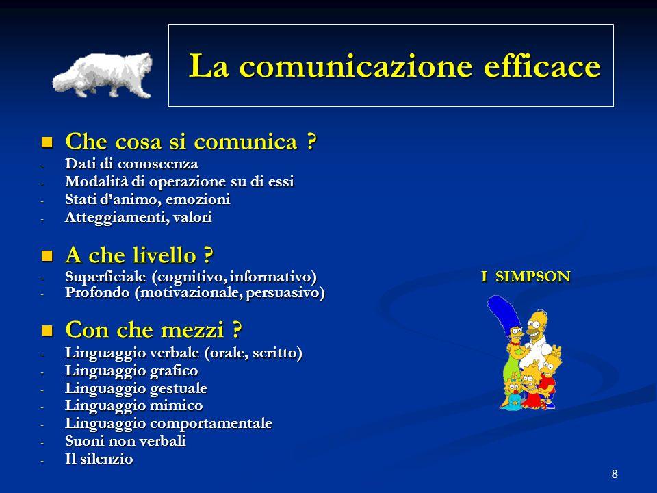 8 La comunicazione efficace La comunicazione efficace Che cosa si comunica ? Che cosa si comunica ? - Dati di conoscenza - Modalità di operazione su d