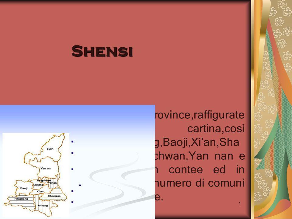 22/04/2014 Antonio Celeri1 Shensi Lo Shensi è diviso in dieci province,raffigurate nella cartina,così denominate:Ankang,Hanzhong,Baoji,Xian,Sha ngluo,