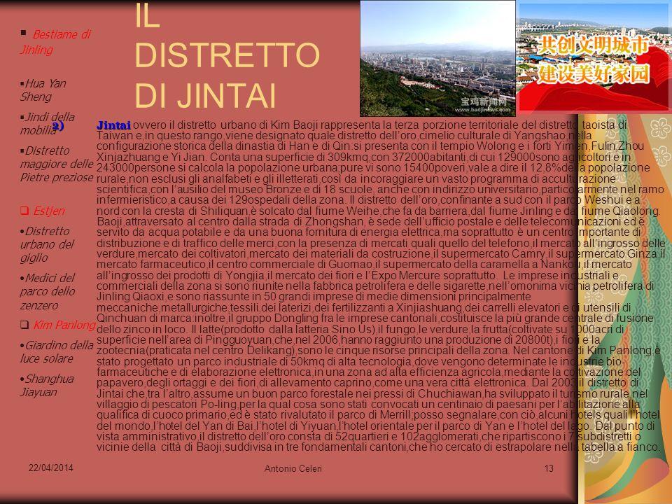 22/04/2014 Antonio Celeri13 IL DISTRETTO DI JINTAI 2)Jintai 2)Jintai ovvero il distretto urbano di Kim Baoji rappresenta la terza porzione territorial