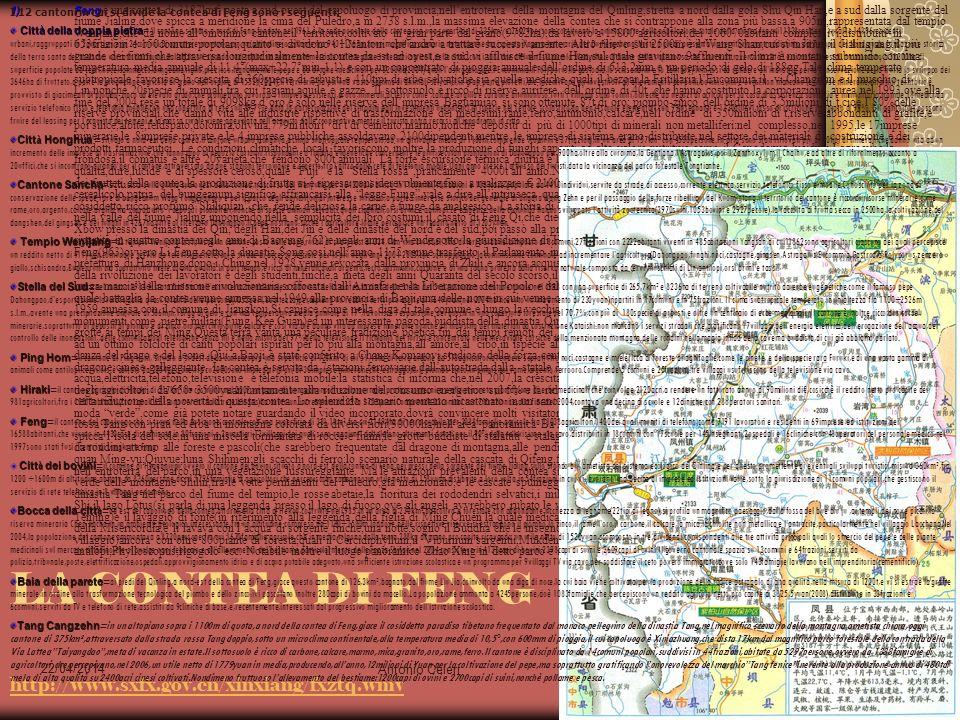22/04/2014 Antonio Celeri15 LA CONTEA DI FENG http://www.sxfx.gov.cn/xinxiang/fxztq.wmv http://www.sxfx.gov.cn/xinxiang/fxztq.wmv 1)Feng 1)Feng è una contea di 3187km² posta a sud-ovest del capoluogo di provincia,nellentroterra della montagna del Qinling,stretta a nord dalla gola Shu Qin Han,e a sud dalla sorgente del fiume Jialing,dove spicca a meridione la cima del Puledro,a m 2738 s.l.m.,la massima elevazione della contea che si contrappone alla zona più bassa,a 905m,rappresentata dal tempio Wenijang,che dà nome allomonimo cantone:il territorio,coltivato in gran parte dal grano(9782ha),dà lavoro a 15800 agricoltori,dei 106070abitanti complessivi,distribuiti in 653frazioni e 150comuni popolari,quanto si dividono i 12cantoni che andrò a trattare successivamente.