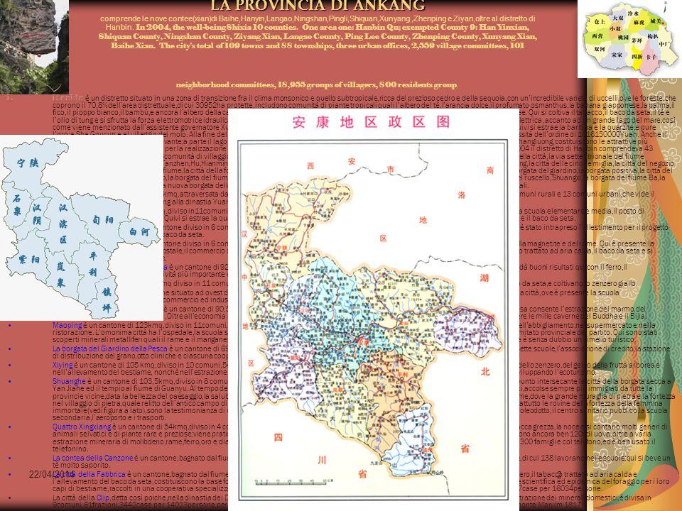 22/04/2014 Antonio Celeri2 LA PROVINCIA DI ANKANG comprende le nove contee(xian)di Baihe,Hanyin,Langao,Ningshan,Pingli,Shiquan,Xunyang,Zhenping e Ziyan,oltre al distretto di Hanbin.