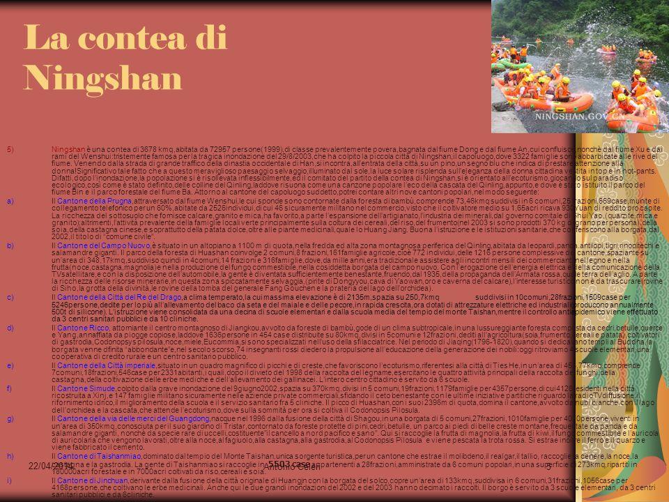 22/04/2014 Antonio Celeri5 La contea di Ningshan 5)Ningshan è una contea di 3678 kmq,abitata da 72957 persone(1999),di classe prevalentemente povera,b