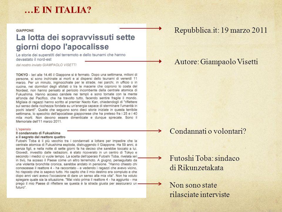 …E IN ITALIA.Repubblica.it: 19 marzo 2011 Autore: Giampaolo Visetti Condannati o volontari.