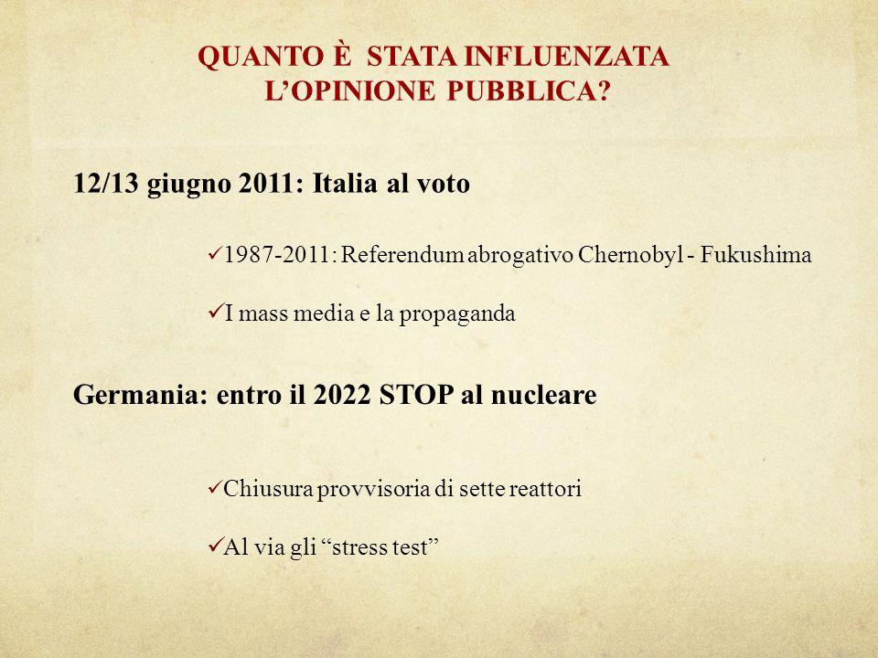 12/13 giugno 2011: Italia al voto QUANTO È STATA INFLUENZATA LOPINIONE PUBBLICA.