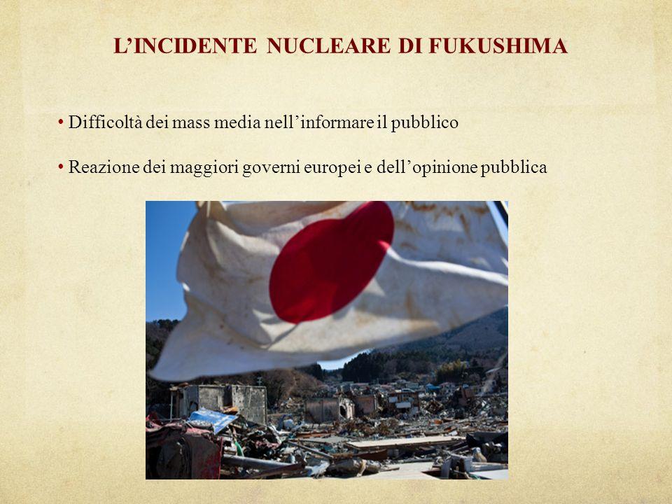 LINCIDENTE NUCLEARE DI FUKUSHIMA Difficoltà dei mass media nellinformare il pubblico Reazione dei maggiori governi europei e dellopinione pubblica
