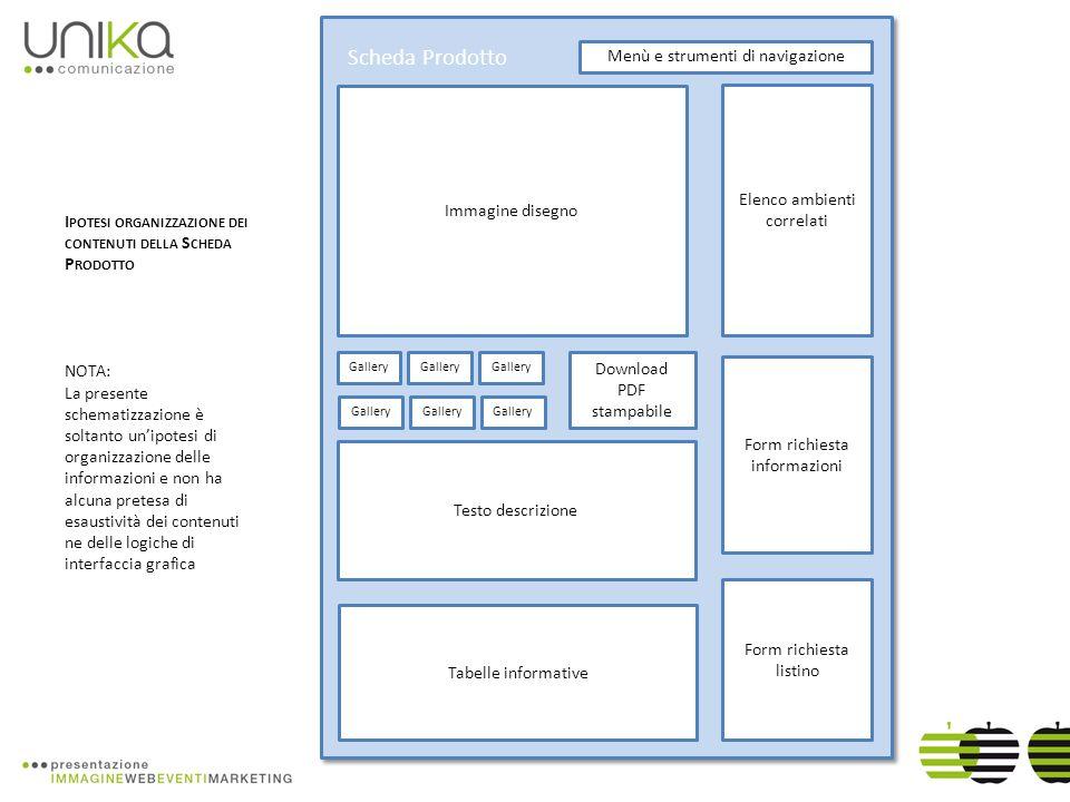Immagine disegno Gallery Elenco ambienti correlati Form richiesta listino Scheda Prodotto Testo descrizione Tabelle informative Menù e strumenti di navigazione I POTESI ORGANIZZAZIONE DEI CONTENUTI DELLA S CHEDA P RODOTTO NOTA: La presente schematizzazione è soltanto unipotesi di organizzazione delle informazioni e non ha alcuna pretesa di esaustività dei contenuti ne delle logiche di interfaccia grafica Gallery Download PDF stampabile Form richiesta informazioni