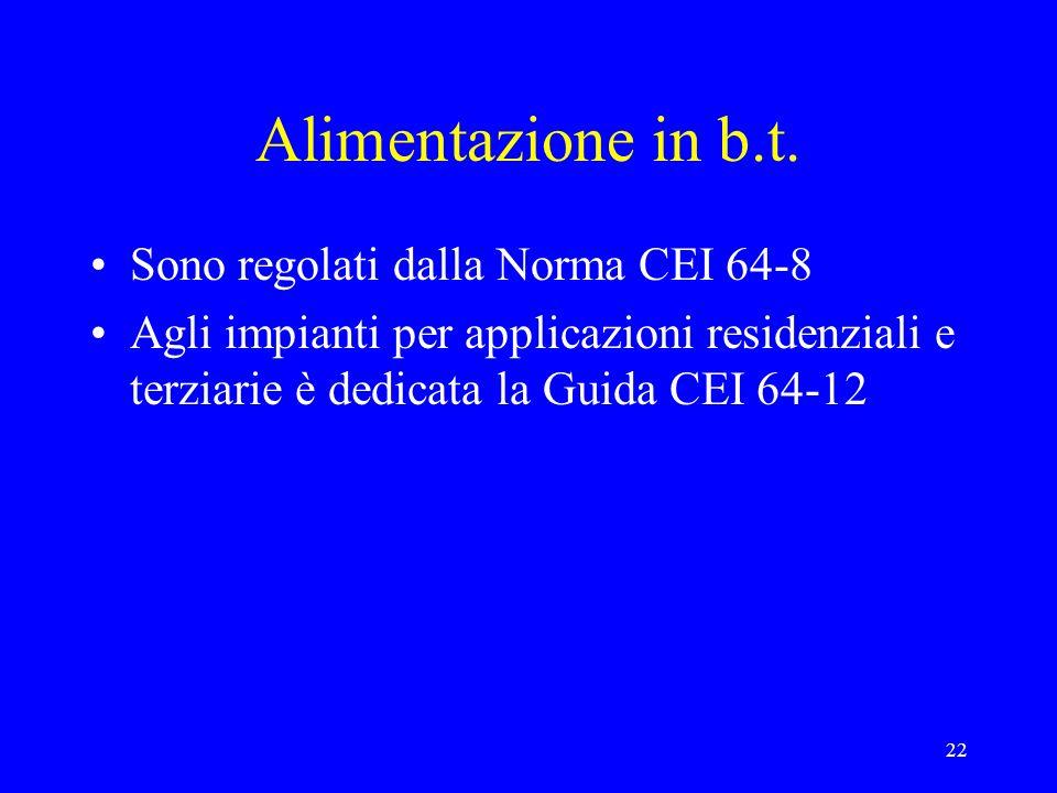22 Alimentazione in b.t. Sono regolati dalla Norma CEI 64-8 Agli impianti per applicazioni residenziali e terziarie è dedicata la Guida CEI 64-12