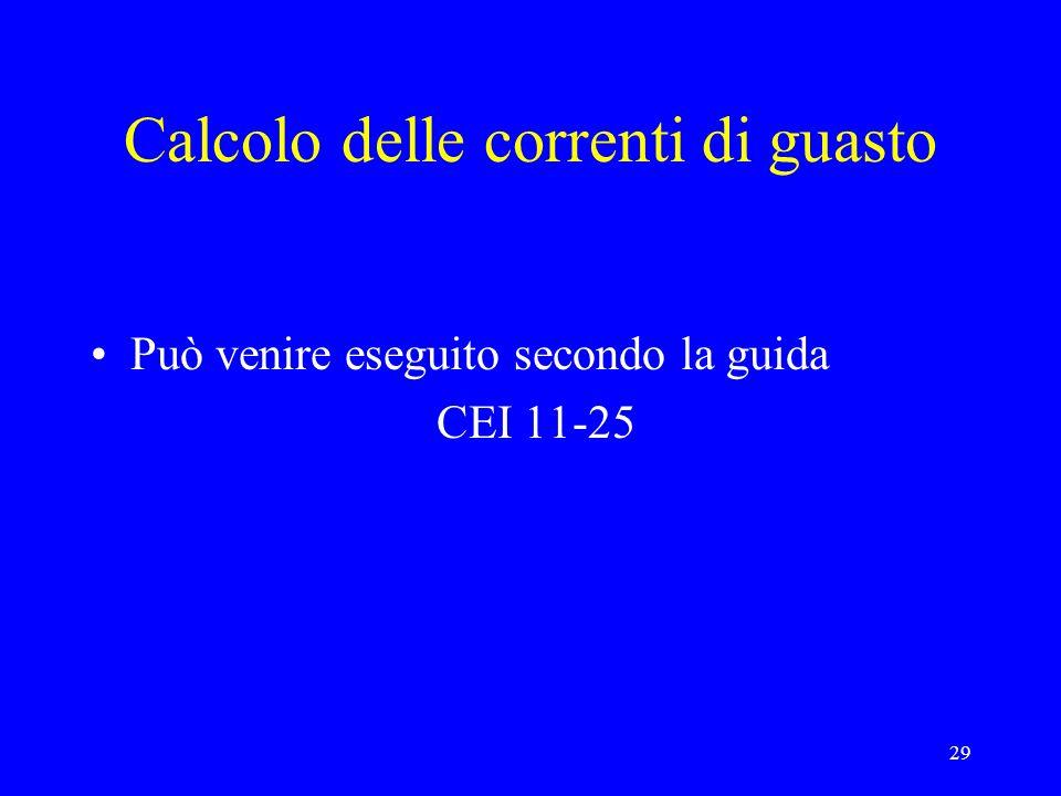 29 Calcolo delle correnti di guasto Può venire eseguito secondo la guida CEI 11-25