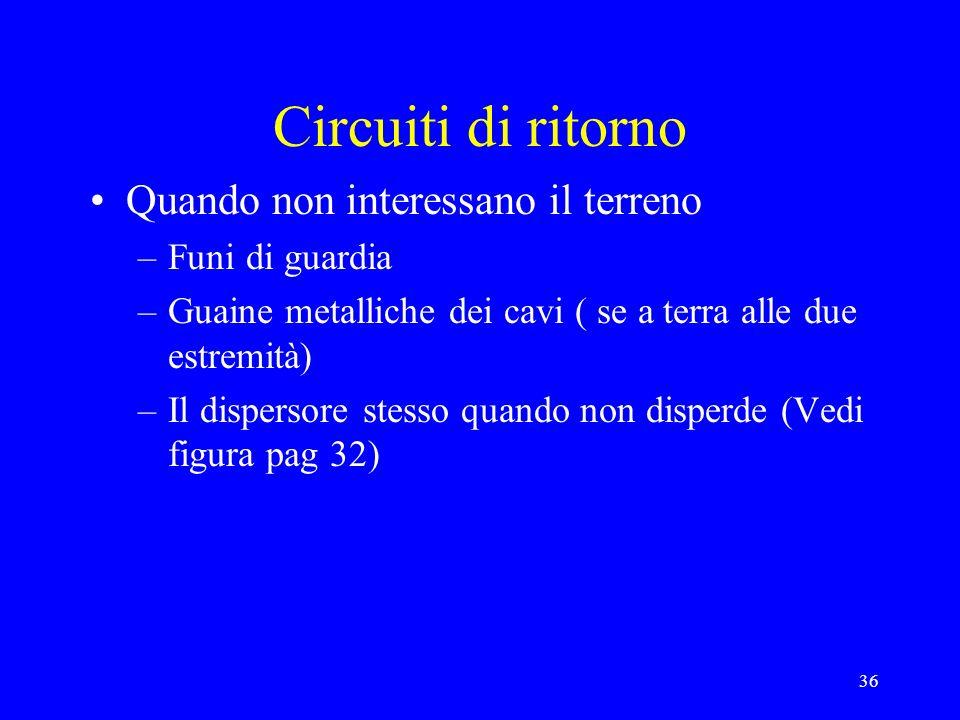36 Circuiti di ritorno Quando non interessano il terreno –Funi di guardia –Guaine metalliche dei cavi ( se a terra alle due estremità) –Il dispersore