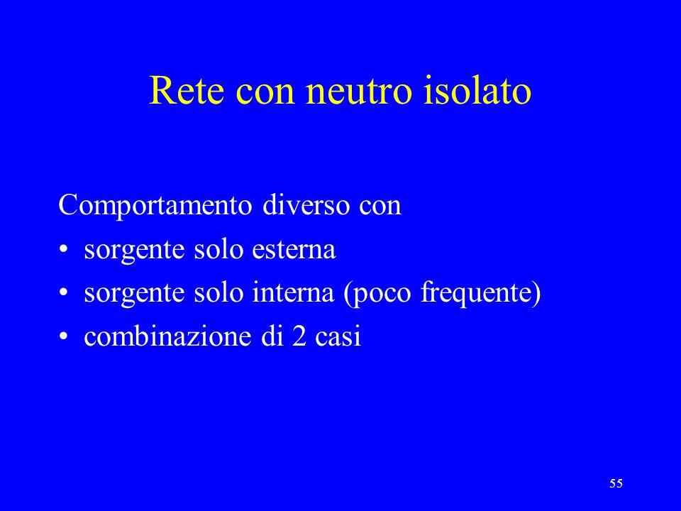 55 Rete con neutro isolato Comportamento diverso con sorgente solo esterna sorgente solo interna (poco frequente) combinazione di 2 casi