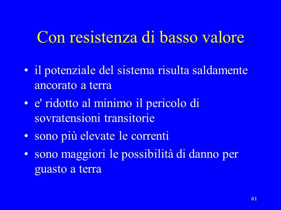 61 Con resistenza di basso valore il potenziale del sistema risulta saldamente ancorato a terra e' ridotto al minimo il pericolo di sovratensioni tran