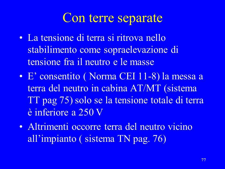 77 Con terre separate La tensione di terra si ritrova nello stabilimento come sopraelevazione di tensione fra il neutro e le masse E consentito ( Norm