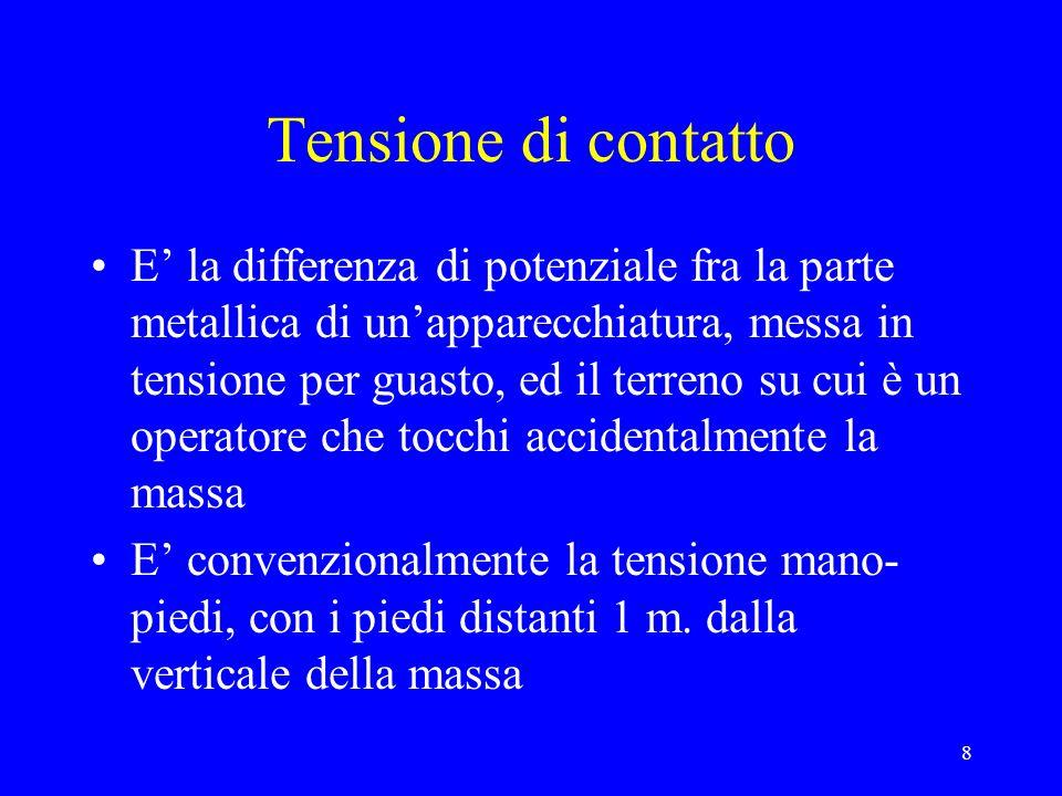 9 Tensione di passo Differenza di potenziale fra due punti del terreno posti alla distanza di un passo convenzionale ( 1 m.