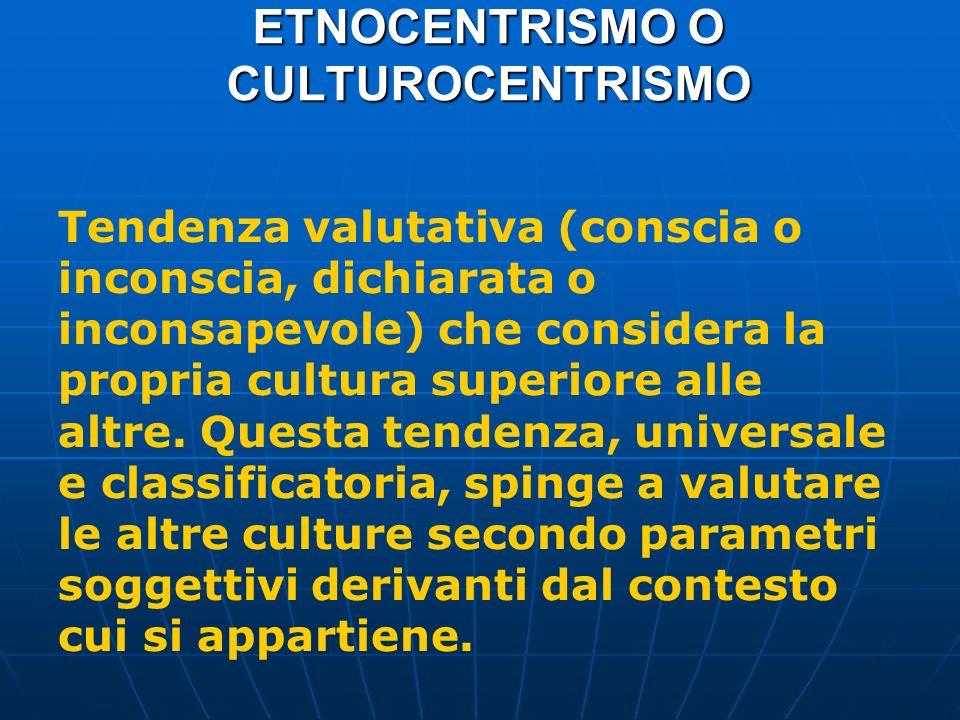 ETNOCENTRISMO O CULTUROCENTRISMO Tendenza valutativa (conscia o inconscia, dichiarata o inconsapevole) che considera la propria cultura superiore alle altre.